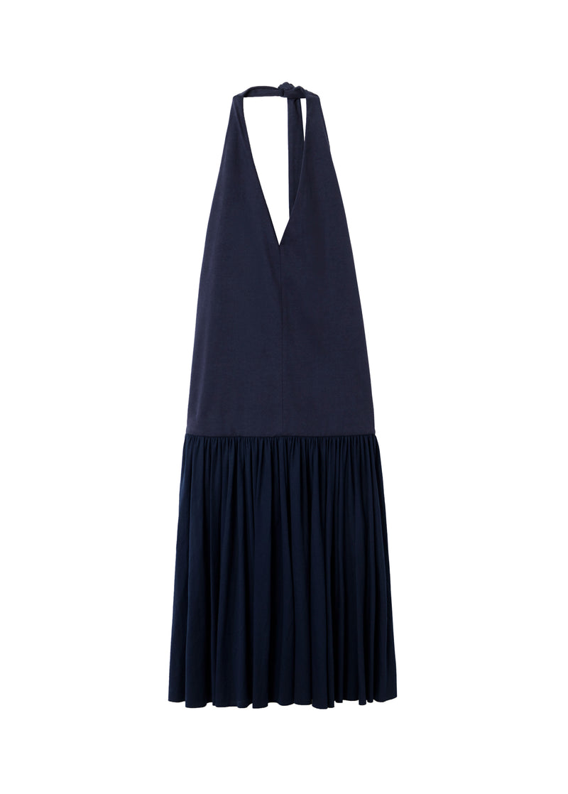 Punto Milano V-Neck Halter Dress Navy-2