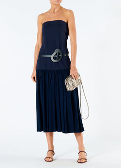 Punto Milano Strapless Dress Navy-1