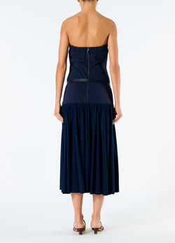 Punto Milano Strapless Dress Navy-3