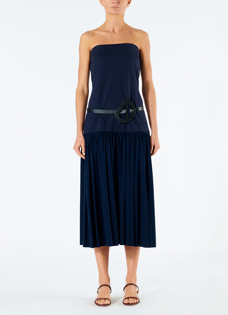 Punto Milano Strapless Dress Navy-4