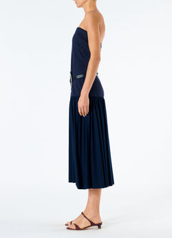 Punto Milano Strapless Dress Navy-5