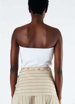 Structured Crepe Strapless Top White-3