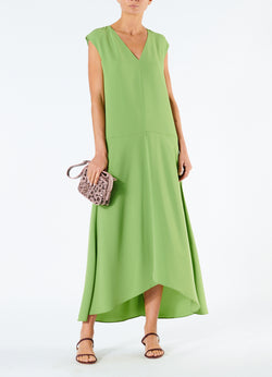 Spring Triacetate V-Neck Dress Grass-1