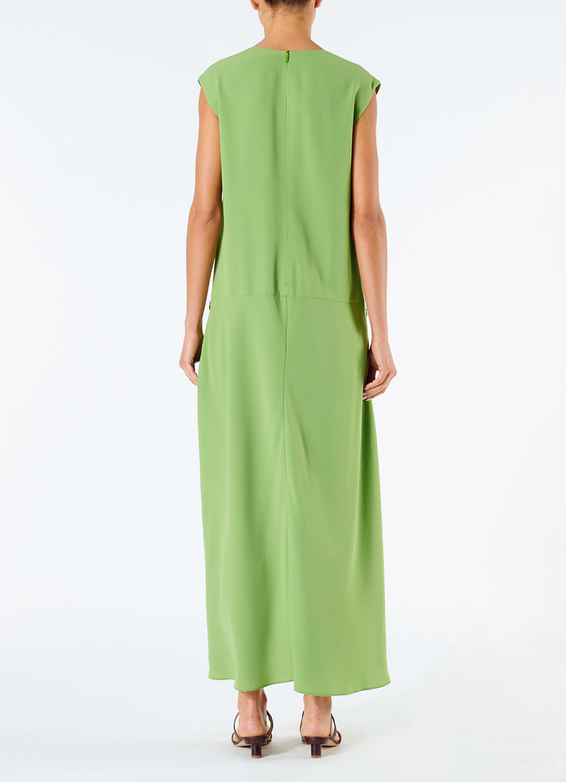 Spring Triacetate V-Neck Dress Grass-3