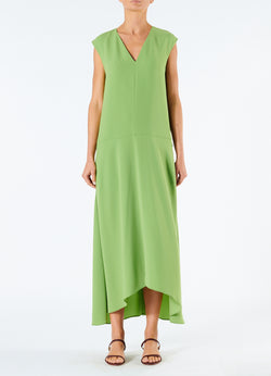 Spring Triacetate V-Neck Dress Grass-4