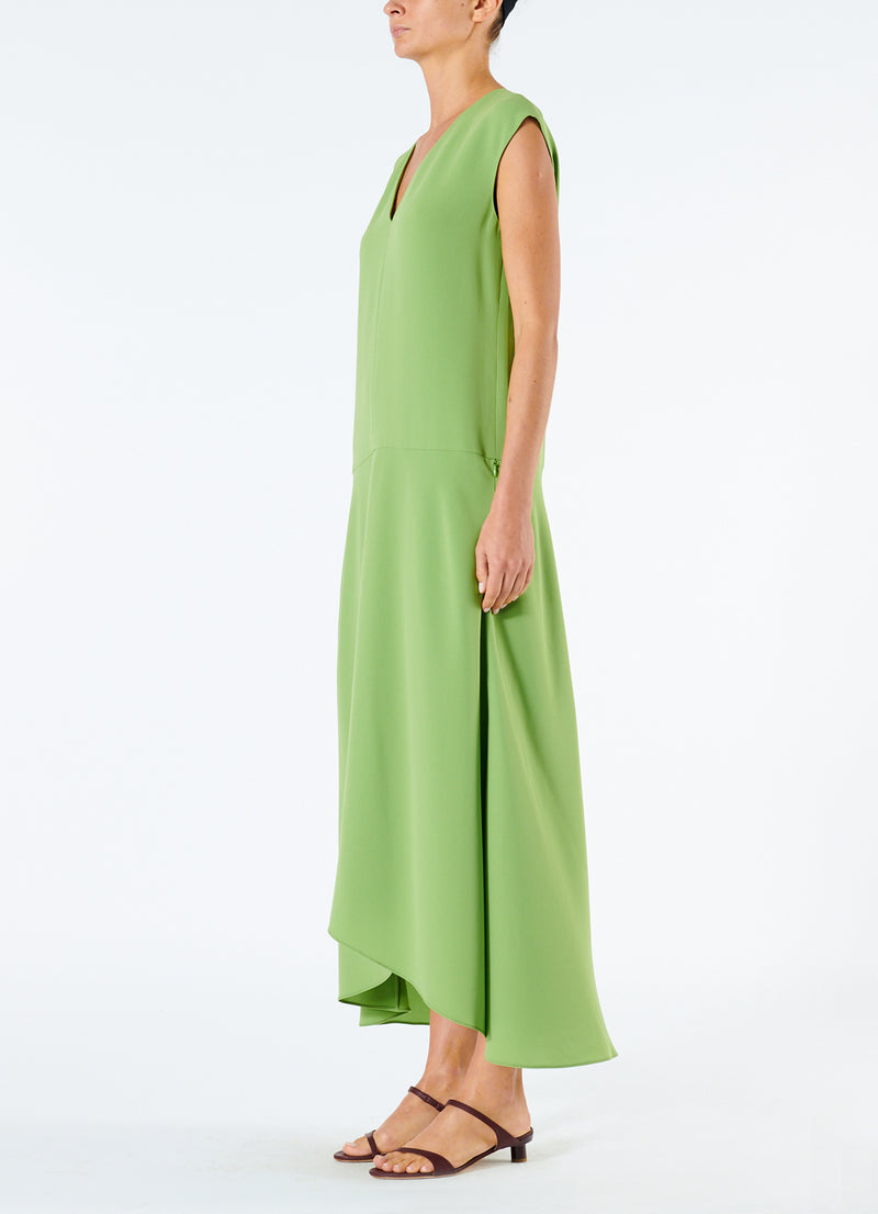 Spring Triacetate V-Neck Dress Grass-5