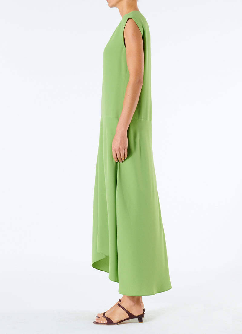 Spring Triacetate V-Neck Dress Grass-6