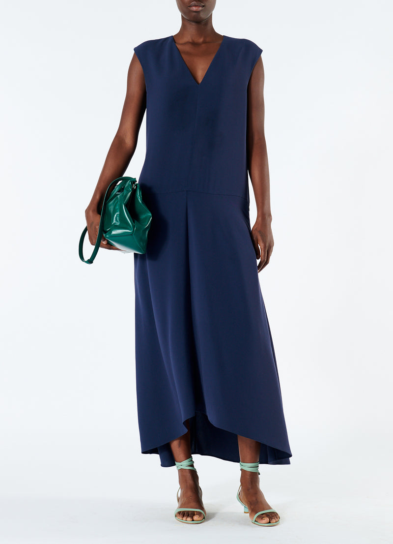 Spring Triacetate V-Neck Dress Navy-1
