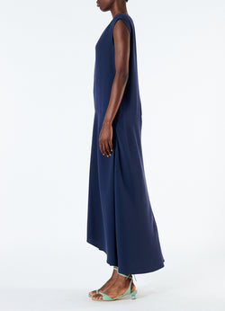 Spring Triacetate V-Neck Dress Navy-3