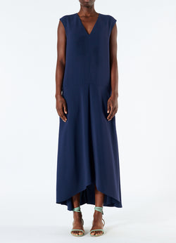 Spring Triacetate V-Neck Dress Navy-4