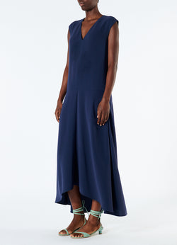Spring Triacetate V-Neck Dress Navy-5