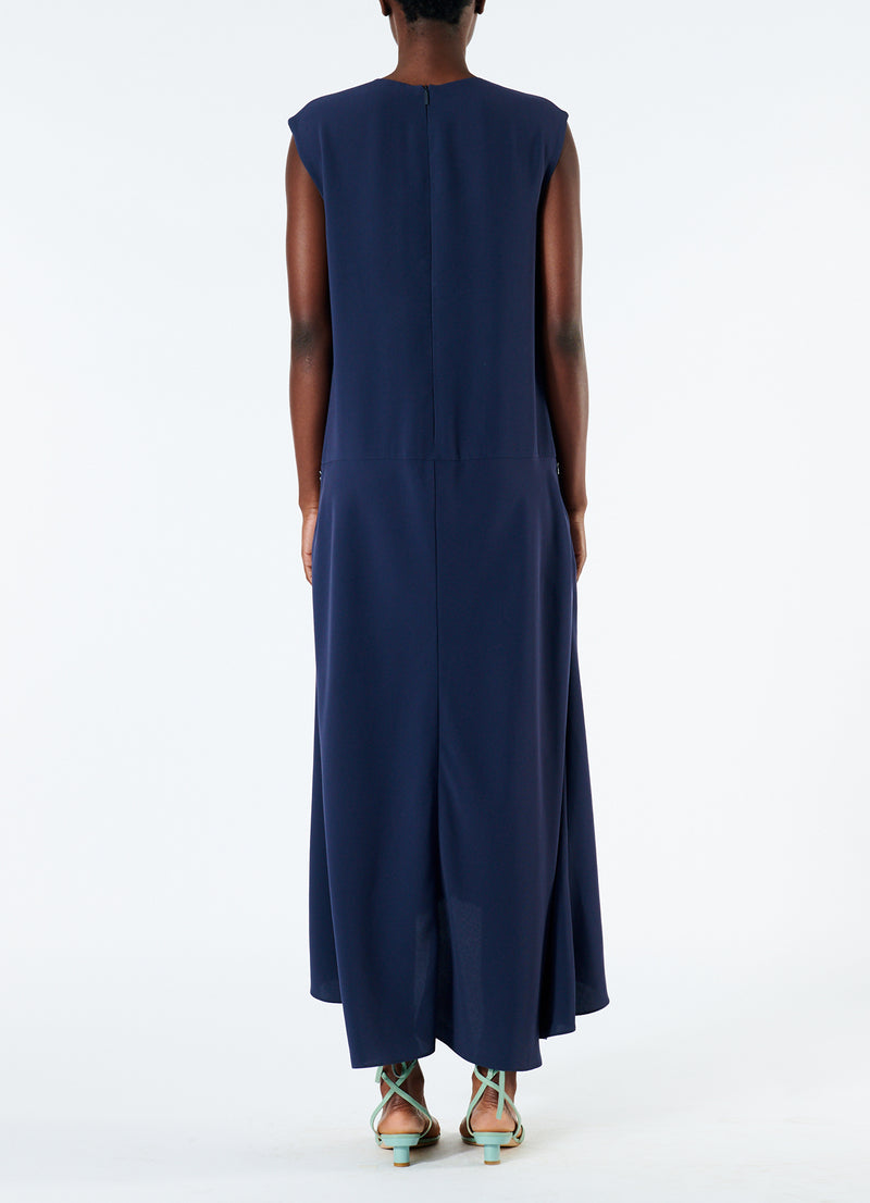 Spring Triacetate V-Neck Dress Navy-6