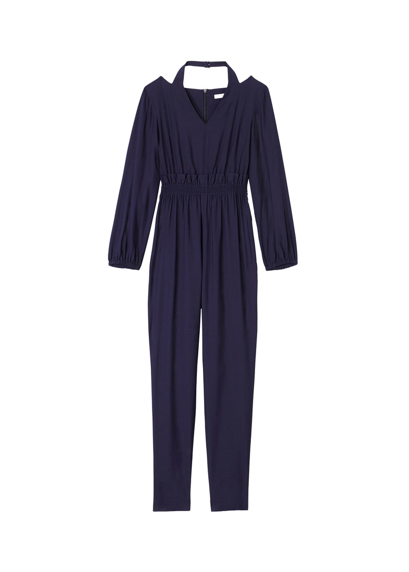 Viscose Twill Halter Jumpsuit Navy-2