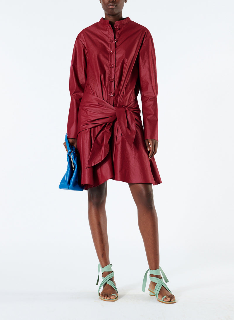 Glossy Plainweave Short Shirtdress with Removable Waist Tie Burgundy-5