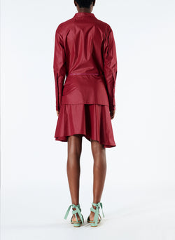 Glossy Plainweave Short Shirtdress with Removable Waist Tie Burgundy-3