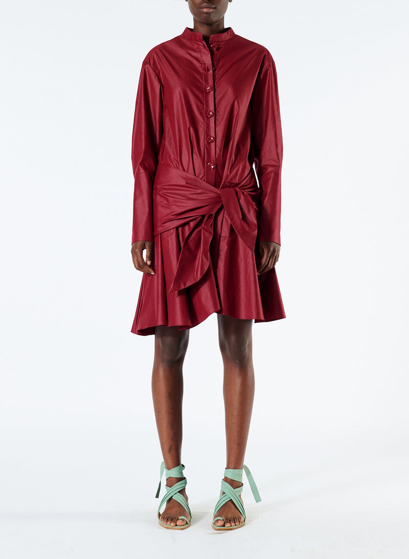 Glossy Plainweave Short Shirtdress with Removable Waist Tie Burgundy-1