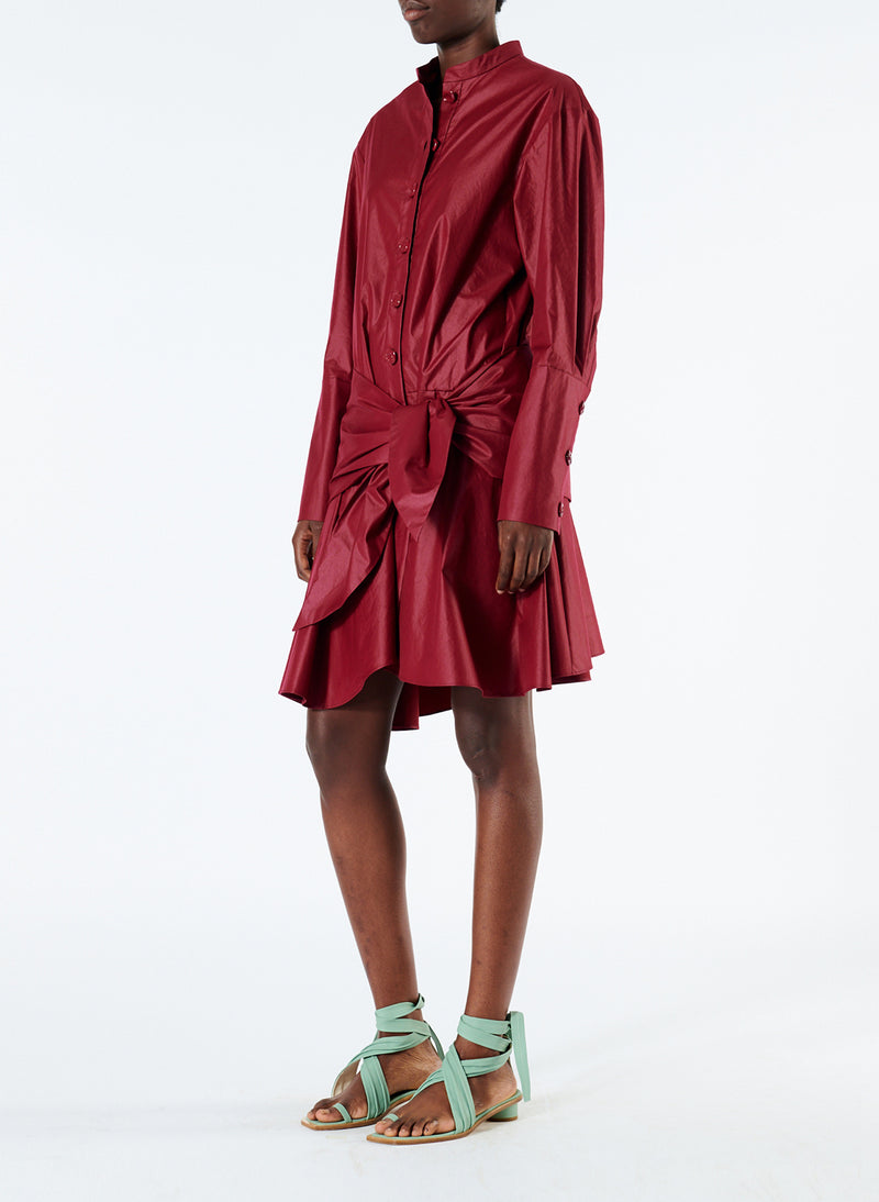 Glossy Plainweave Short Shirtdress with Removable Waist Tie Burgundy-2