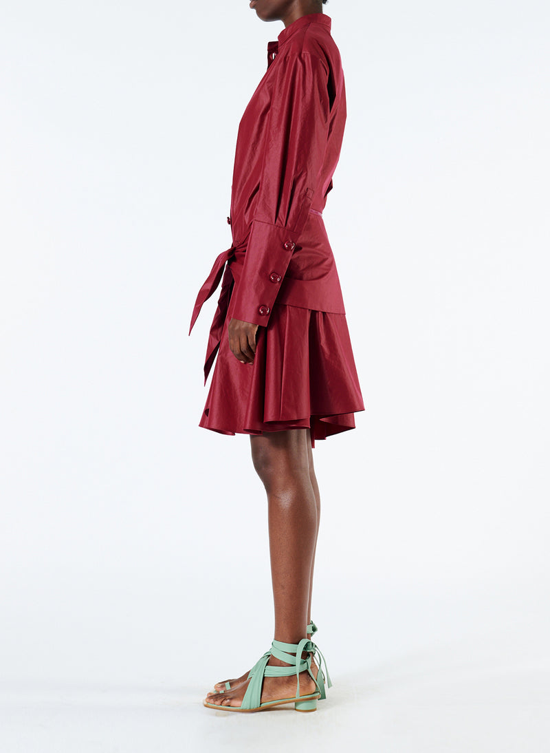 Glossy Plainweave Short Shirtdress with Removable Waist Tie Burgundy-4