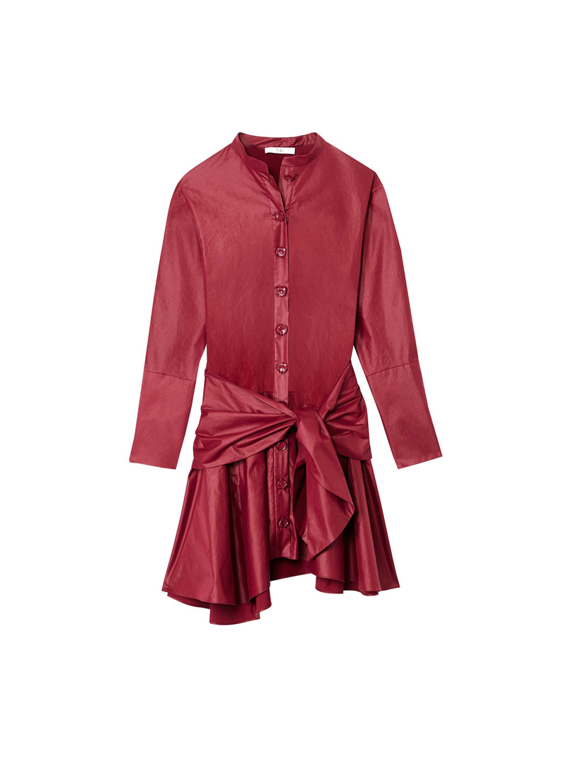 Glossy Plainweave Short Shirtdress with Removable Waist Tie Burgundy-7