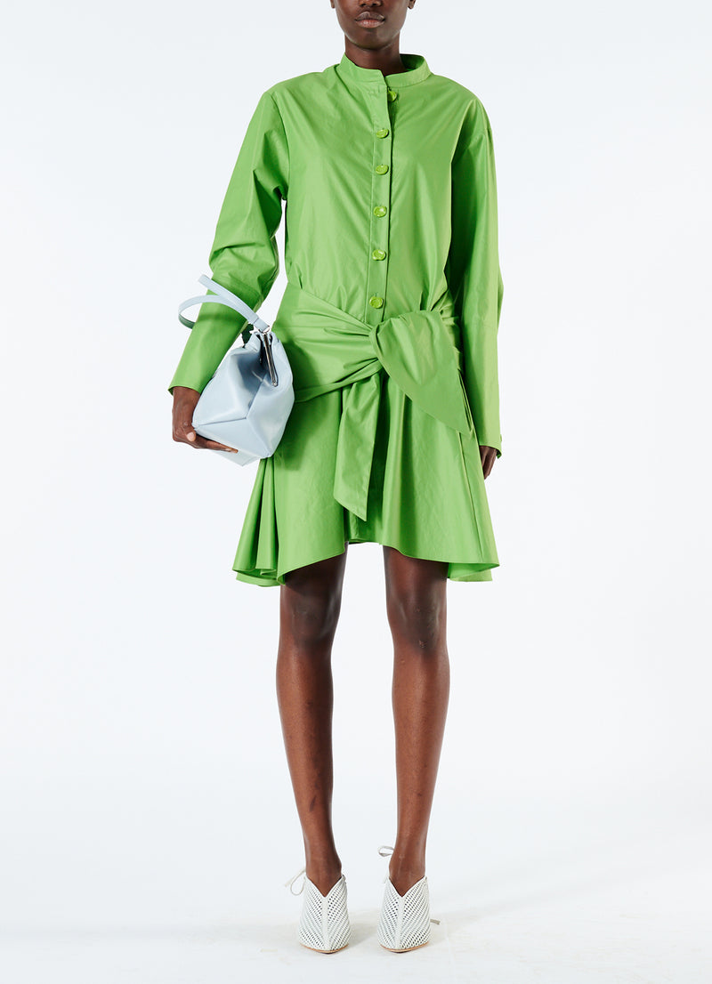 Glossy Plainweave Short Shirtdress with Removable Waist Tie Grass-5