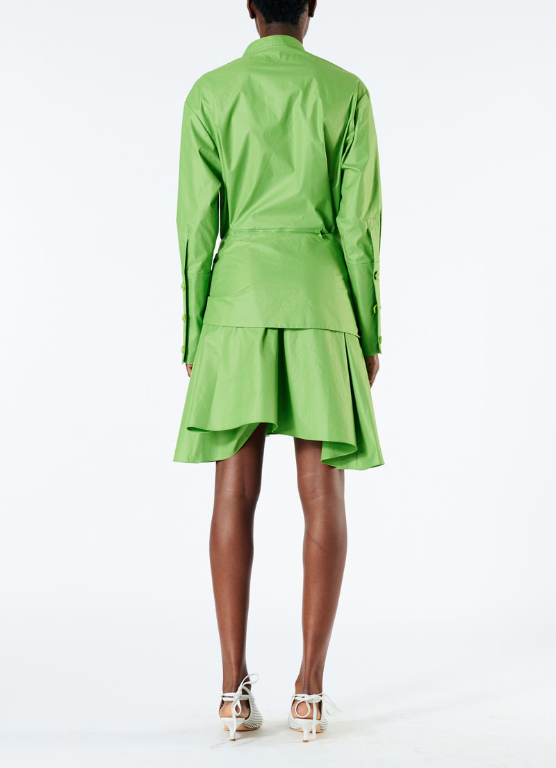 Glossy Plainweave Short Shirtdress with Removable Waist Tie Grass-3