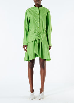 Glossy Plainweave Short Shirtdress with Removable Waist Tie Grass-1