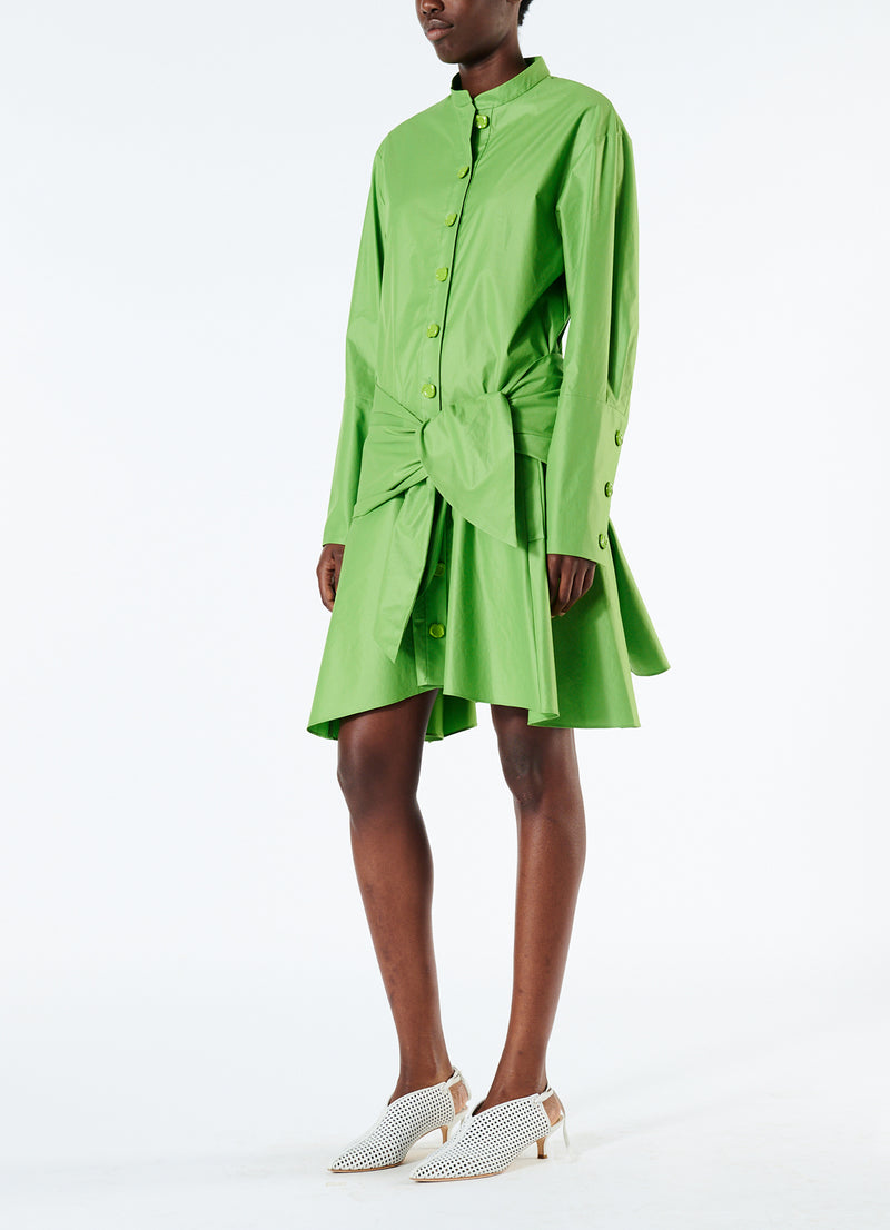 Glossy Plainweave Short Shirtdress with Removable Waist Tie Grass-2