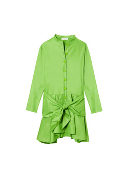 Glossy Plainweave Short Shirtdress with Removable Waist Tie Grass-6