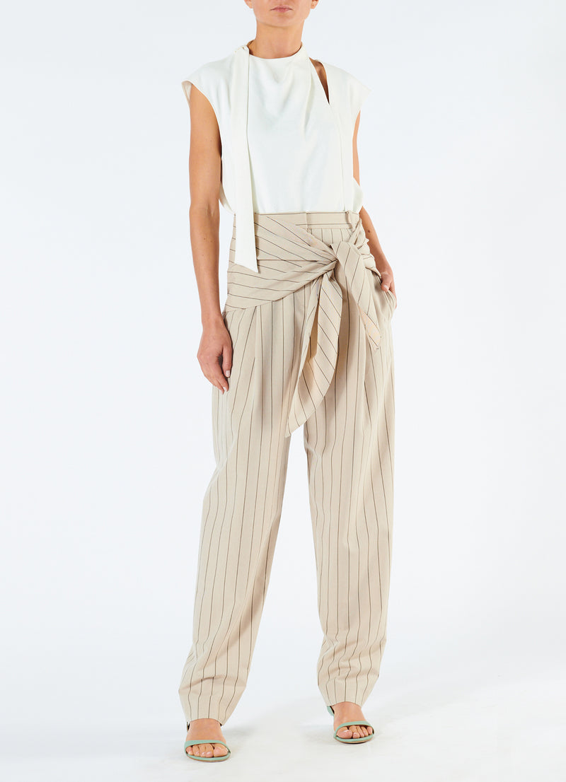 Tropical Wool Sculpted Pant with Removable Tie Hazelwood Multi-6