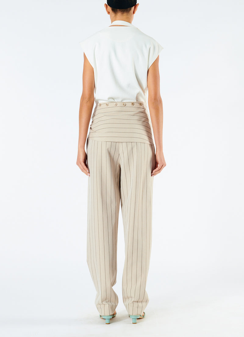 Tropical Wool Sculpted Pant with Removable Tie Hazelwood Multi-4