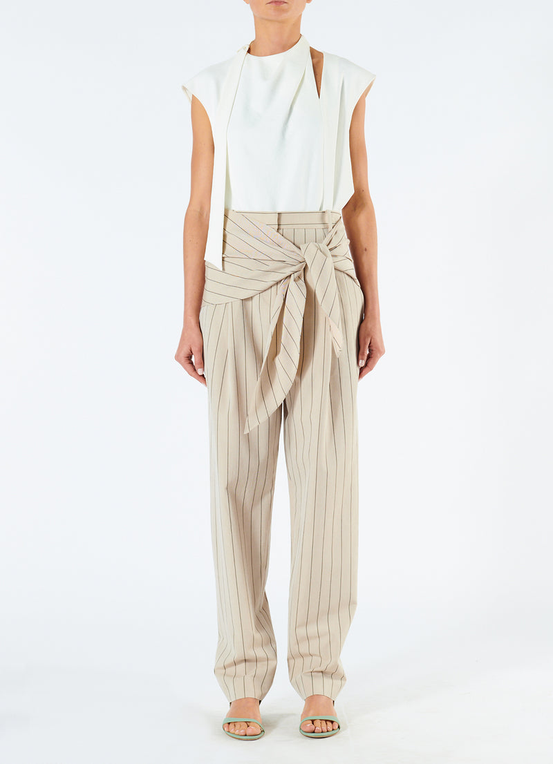 Tropical Wool Sculpted Pant with Removable Tie Hazelwood Multi-1