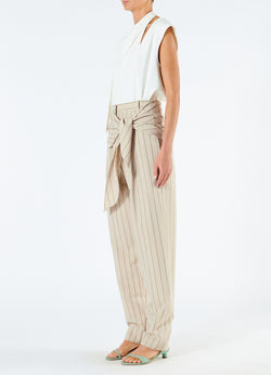 Tropical Wool Sculpted Pant with Removable Tie Hazelwood Multi-2