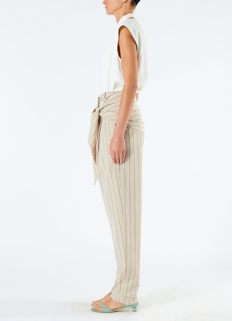 Tropical Wool Sculpted Pant with Removable Tie Hazelwood Multi-3