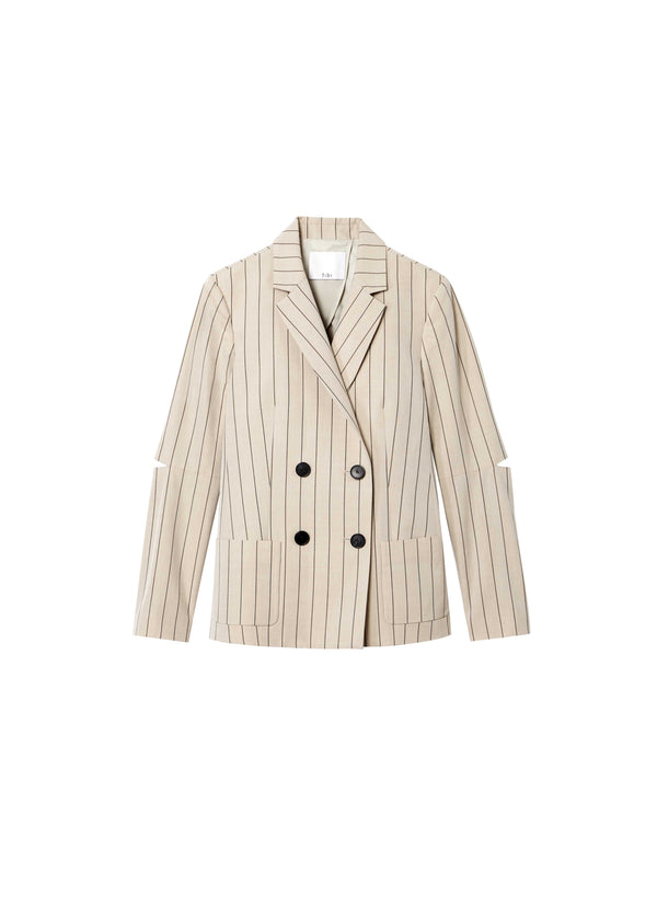 티비 셋업 자켓 Tibi Tropical Wool Blazer with Sleeve Slit,Hazelwood Multi