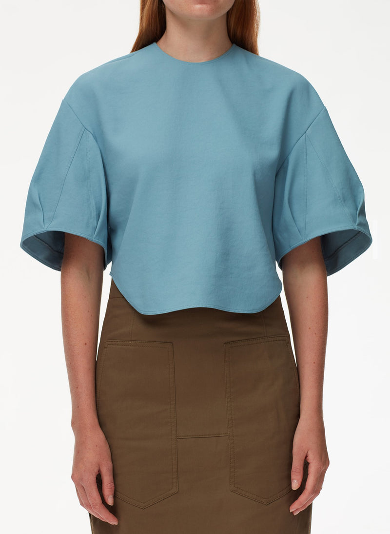 Chalky Drape Sculpted Short Sleeve Top Sea Blue-4