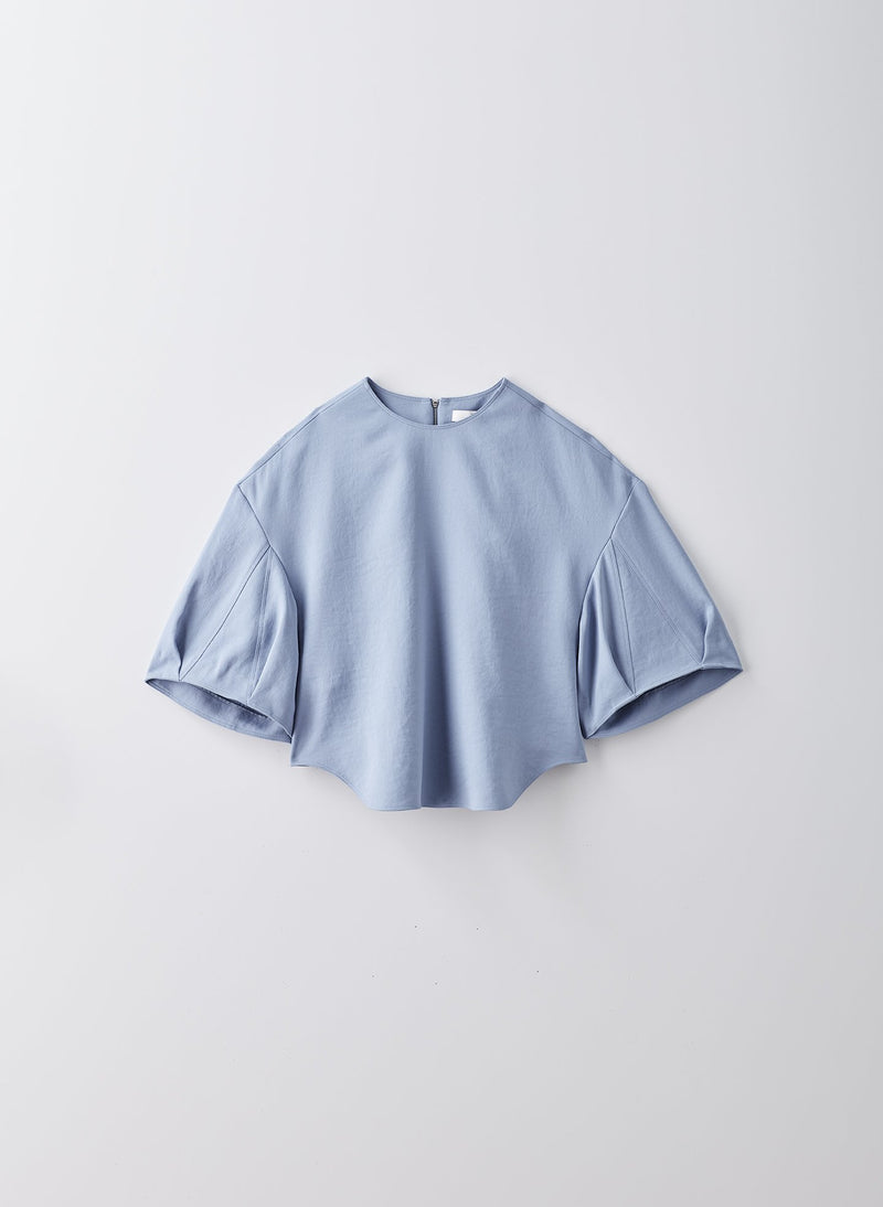 Chalky Drape Sculpted Short Sleeve Top Sea Blue-8