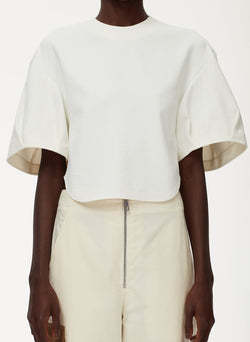 Chalky Drape Sculpted Short Sleeve Top White-12