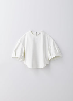 Chalky Drape Sculpted Short Sleeve Top White-16