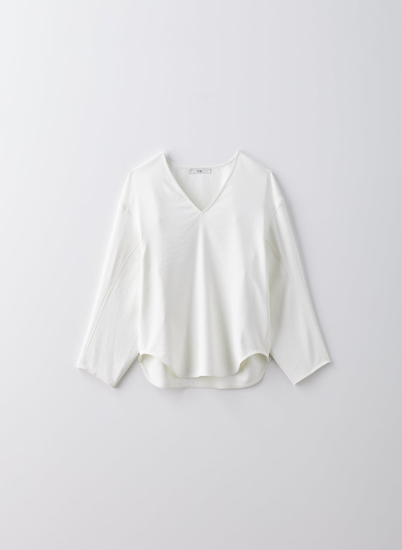 Chalky Drape Sculpted Long Sleeve Top White-9