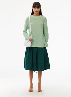 Crispy Cotton Crewneck Pullover Green Multi-1