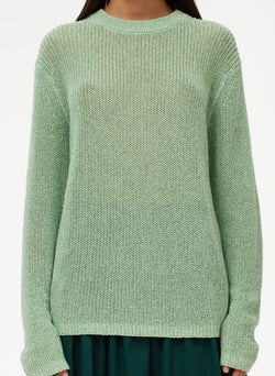 Crispy Cotton Crewneck Pullover Green Multi-4