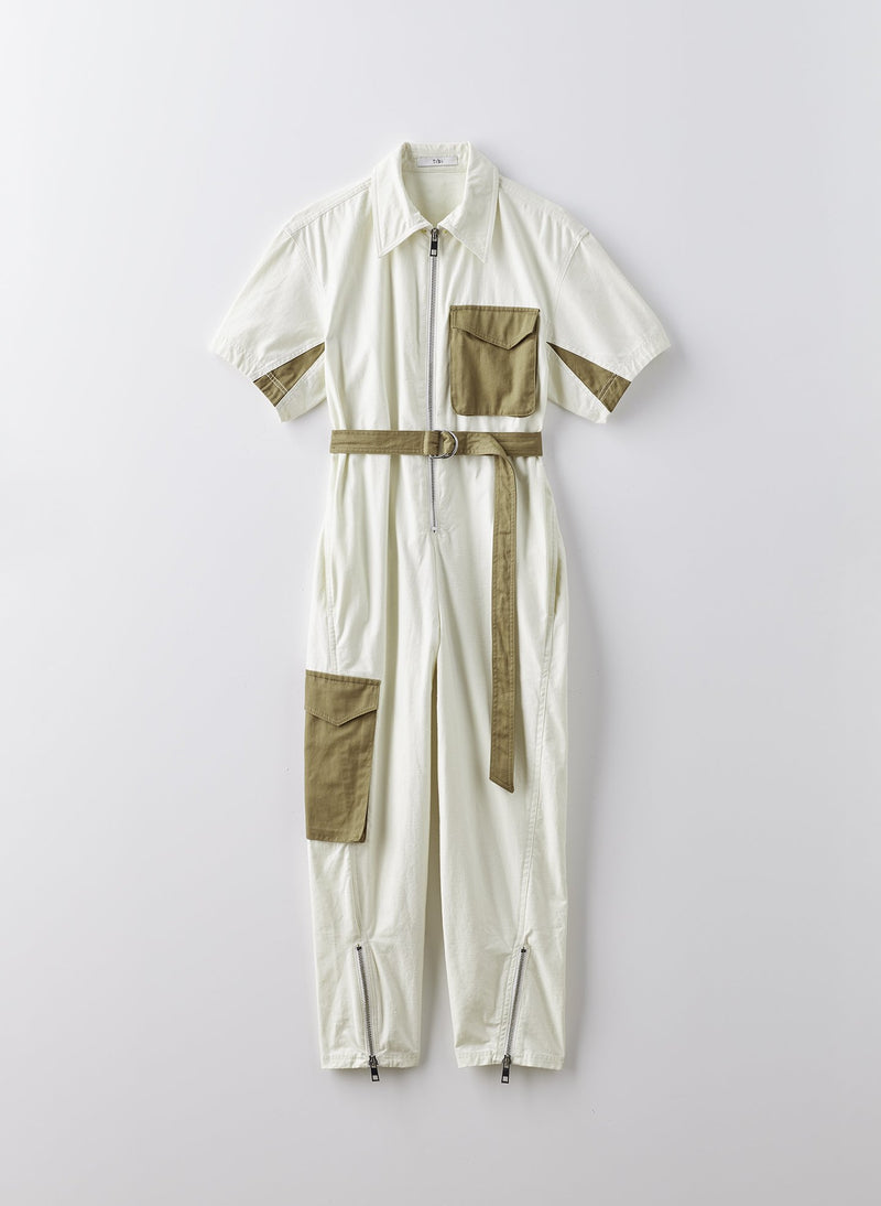 Cotton Slub Jumpsuit Ivory Multi-8