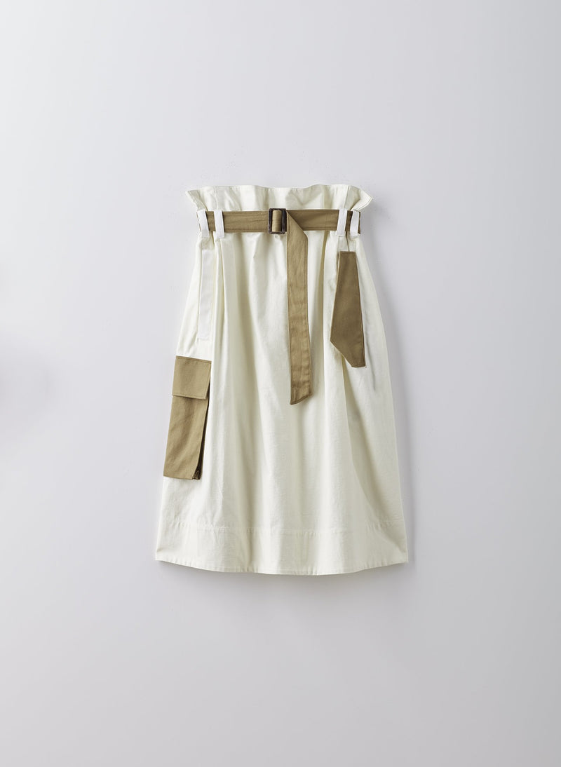Cotton Slub Paper Bag Skirt Ivory Multi-8