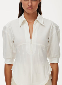 Cotton Pique Corset Polo Top White-13