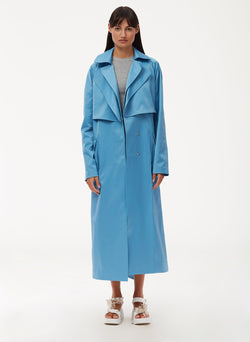 Duchesse Tech Satin Trench Sky Blue-1