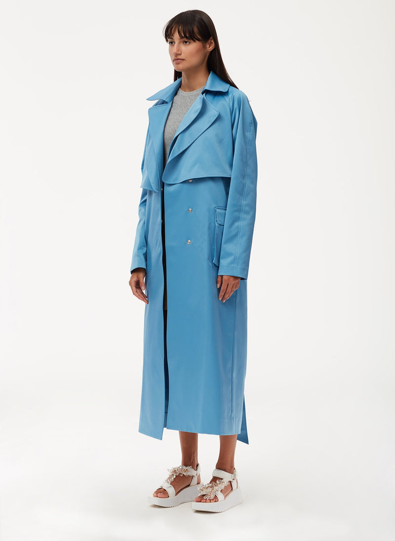 Duchesse Tech Satin Trench Sky Blue-2