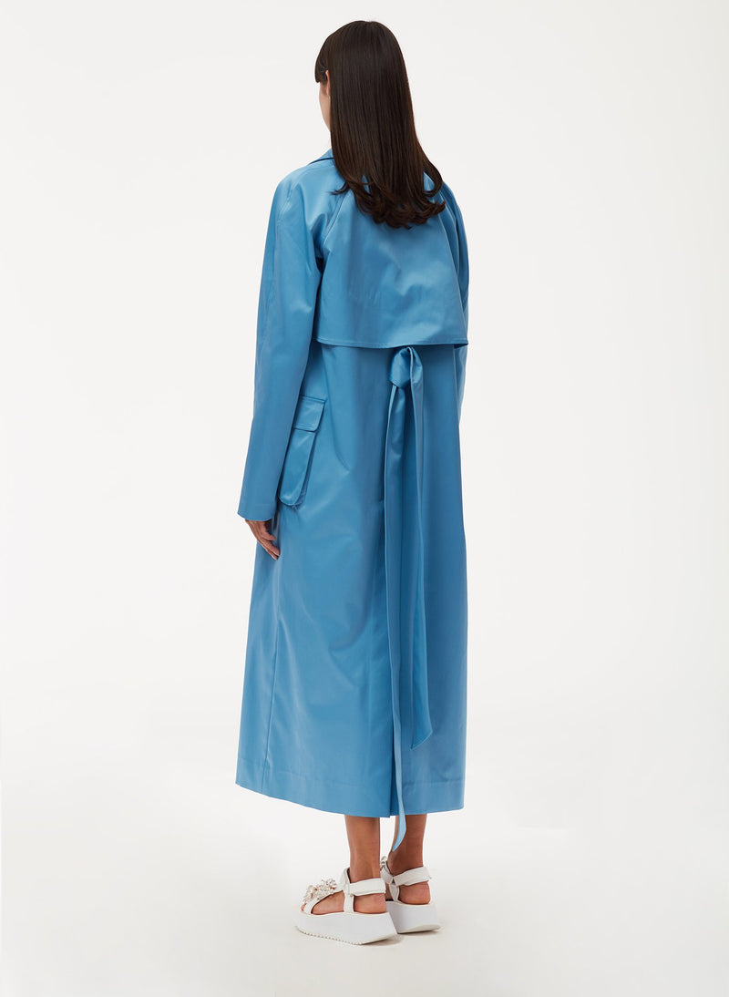 Duchesse Tech Satin Trench Sky Blue-3