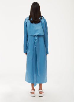 Duchesse Tech Satin Trench Sky Blue-4