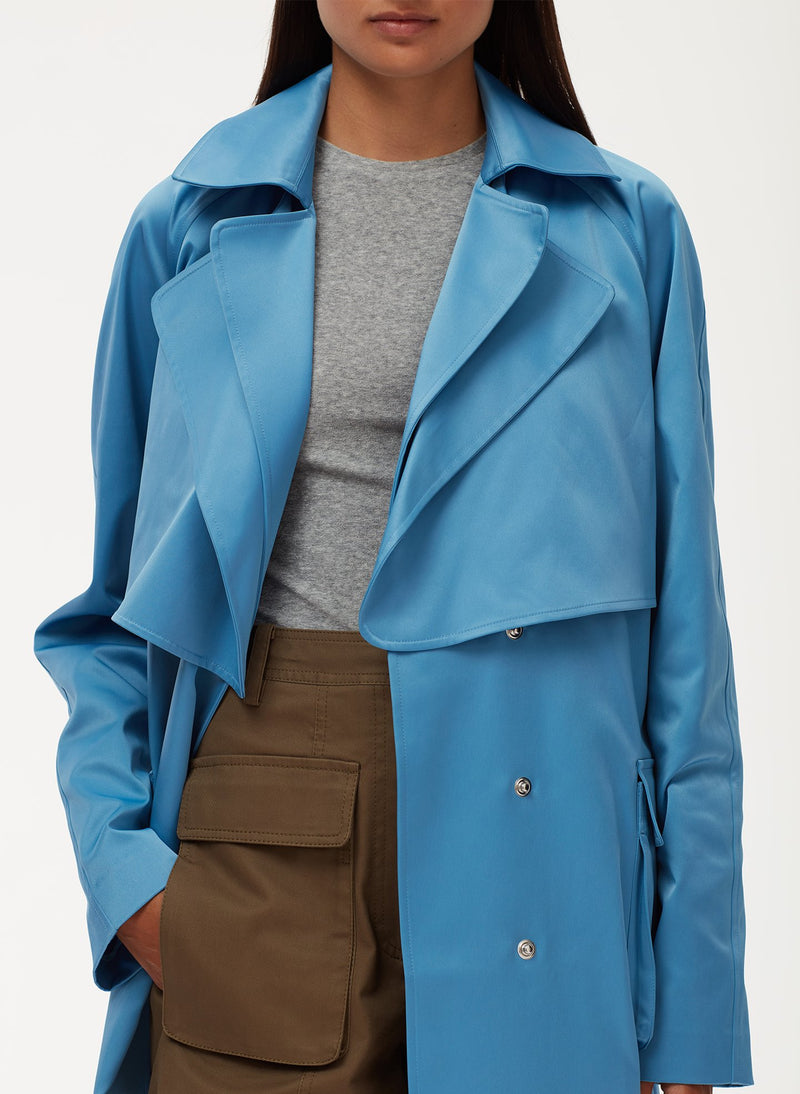 Duchesse Tech Satin Trench Sky Blue-5