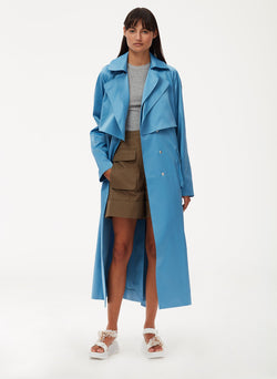Duchesse Tech Satin Trench Sky Blue-6